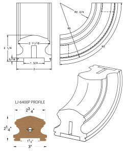 "LJ-7414P: Conect-A-Kit 90° Upeasing for LJ-6400P - 1 3/4"" Plowed Handrail CAD Drawing"