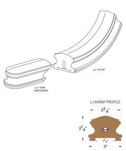 "LJ-7415P: Conect-A-Kit Starting Easing for LJ-6400P - 1 3/4"" Plowed Handrail CAD Drawing"