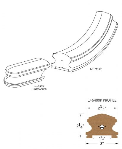 """LJ-7415P: Conect-A-Kit Starting Easing for LJ-6400P - 1 3/4"""" Plowed Handrail CAD Drawing"""