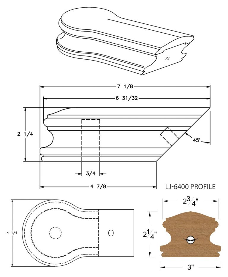 LJ-7419: Conect-A-Kit Opening Cap for LJ-6400 Handrail CAD Drawing
