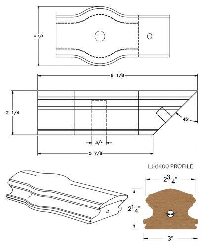 LJ-7420: Conect-A-Kit Tandem Cap for LJ-6400 Handrail CAD Drawing