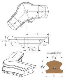 LJ-7421-135: Conect-A-Kit 135° Level Turn with Cap for LJ-6400 Handrail CAD Drawing