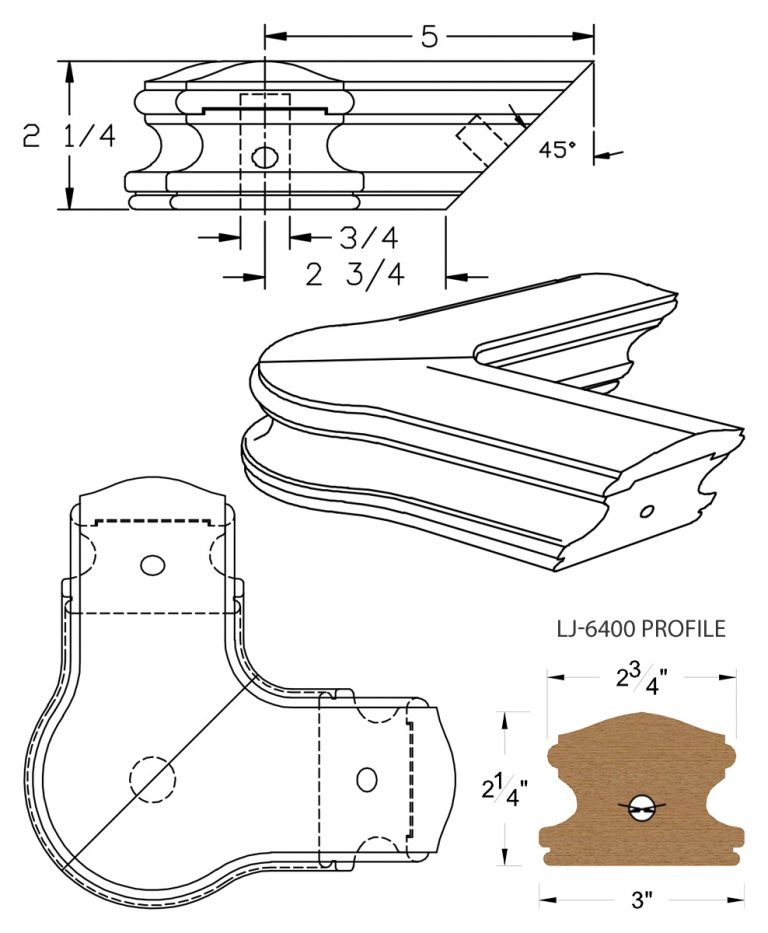 LJ-7421: Conect-A-Kit 90° Level Quarterturn with Cap for LJ-6400 Handrail CAD Drawing