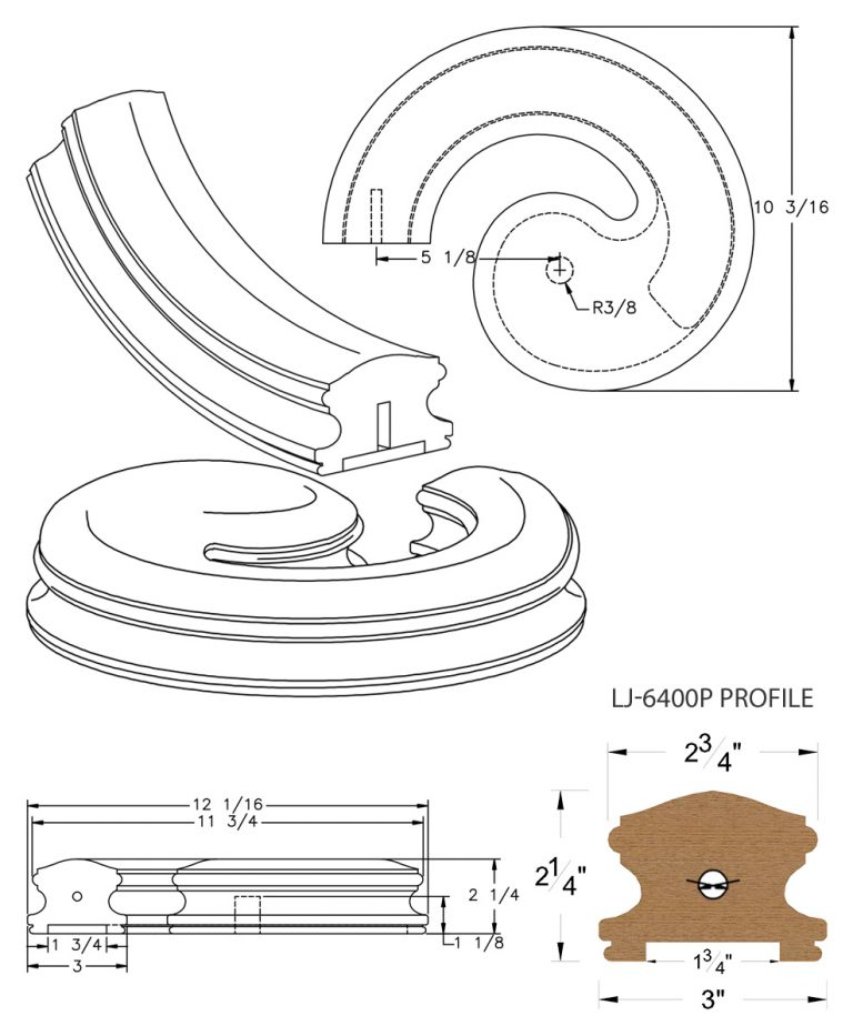 """LJ-7430P: Conect-A-Kit Left Hand Volute for LJ-6400P - 1 3/4"""" Plowed Handrail CAD Drawing"""