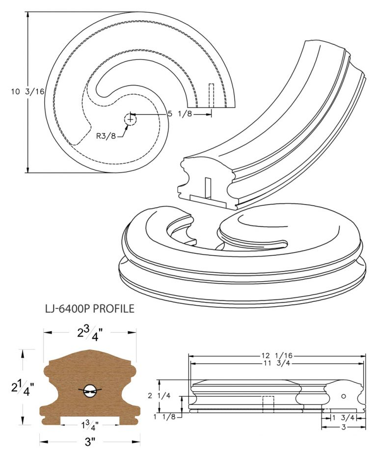"LJ-7435P: Conect-A-Kit Right Hand Volute for LJ-6400P - 1 3/4"" Plowed Handrail CAD Drawing"