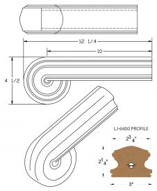 LJ-7438: Vertical Volute for LJ-6400 Handrail CAD Drawing