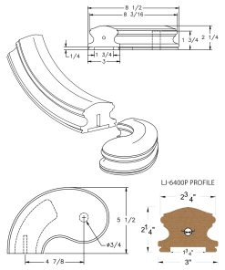 "LJ-7440P: Conect-A-Kit 5"" Left Hand Turnout for LJ-6400P - 1 3/4"" Plowed Handrail CAD Drawing"