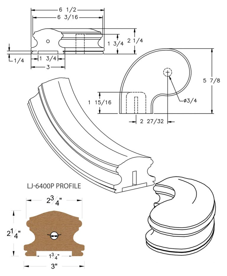 """LJ-7441P: Conect-A-Kit 3"""" Left Hand Turnout for LJ-6400P - 1 3/4"""" Plowed Handrail CAD Drawing"""