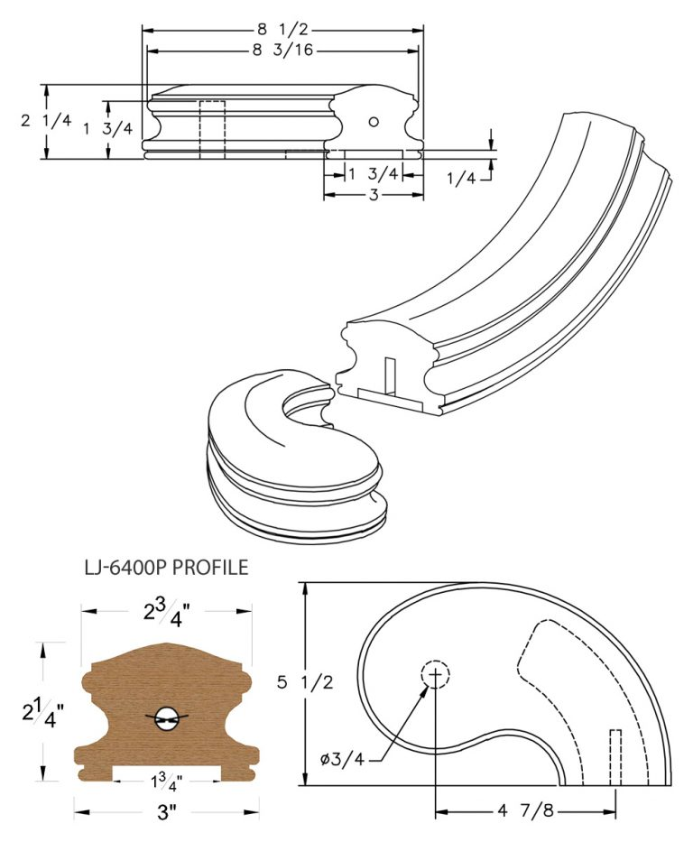 "LJ-7445P: Conect-A-Kit 5"" Right Hand Turnout for LJ-6400P - 1 3/4"" Plowed Handrail CAD Drawing"