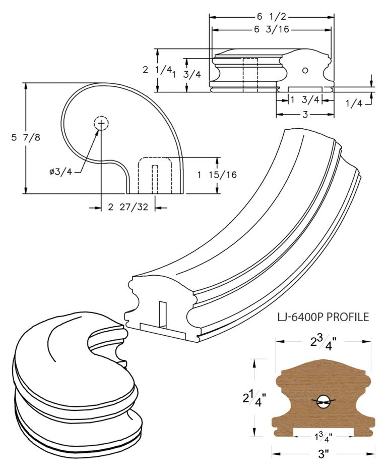 """LJ-7446P: Conect-A-Kit 3"""" Right Hand Turnout for LJ-6400P - 1 3/4"""" Plowed Handrail CAD Drawing"""