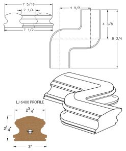 LJ-7447: Conect-A-Kit Left Hand S Fitting / Offset for LJ-6400 Handrail CAD Drawing