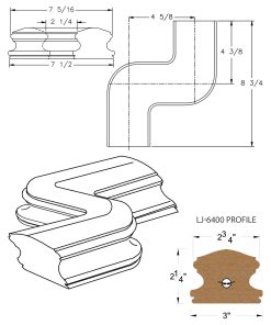 LJ-7448: Conect-A-Kit Right Hand S Fitting / Offset for LJ-6400 Handrail CAD Drawing