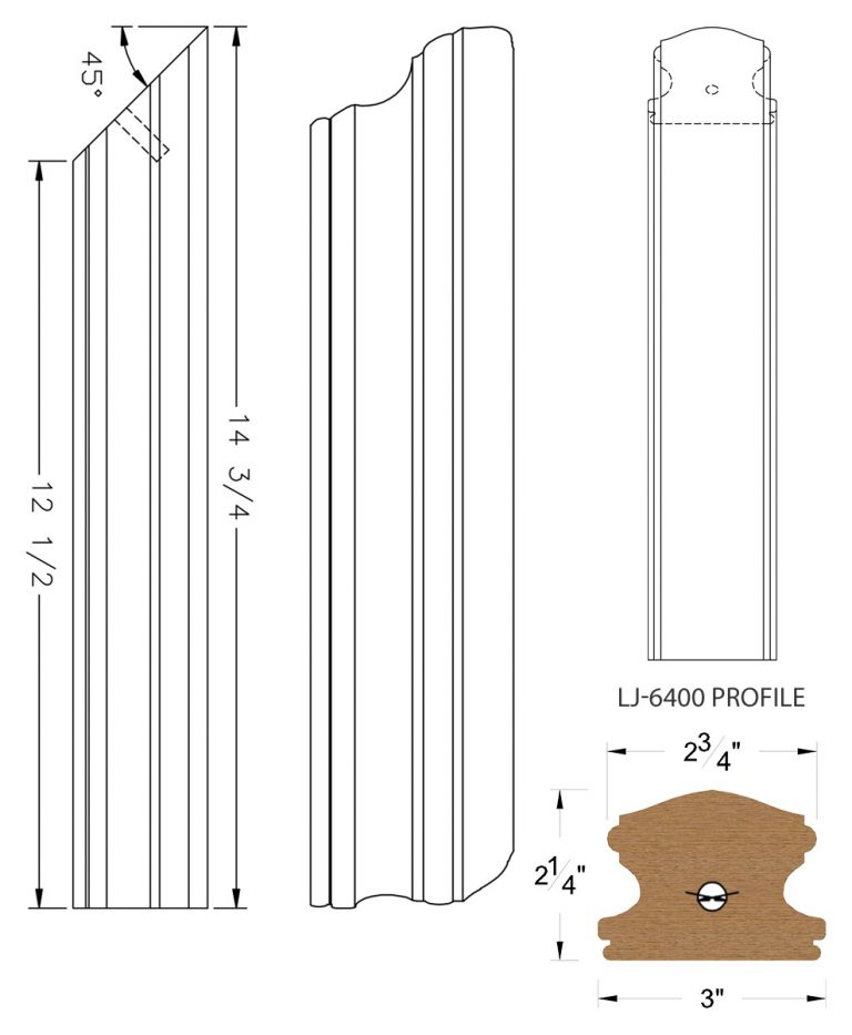 LJ-74RD: Conect-A-Kit Rail Drop for LJ-6400 Handrail CAD Drawing