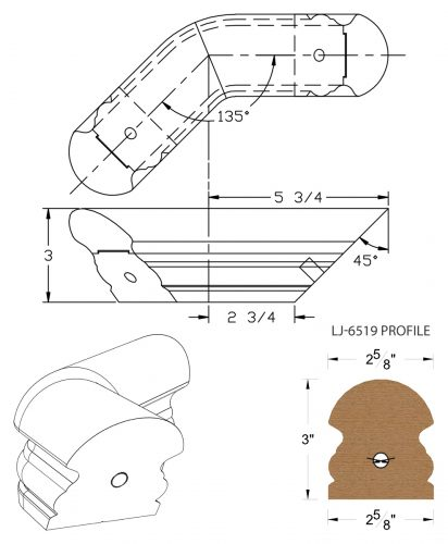 LJ-7511-135: Conect-A-Kit 135° Level Turn for LJ-6519 Handrail CAD Drawing