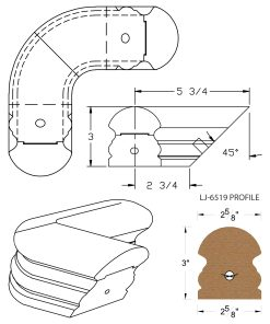 LJ-7511: Conect-A-Kit 90° Level Quarterturn for LJ-6519 Handrail CAD Drawing