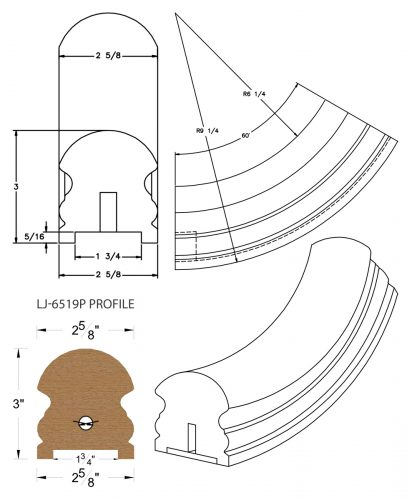 """LJ-7512P: Conect-A-Kit 60° Upeasing for LJ-6519P - 1 3/4"""" Plowed Handrail CAD Drawing"""