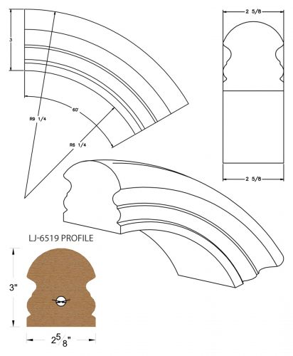 LJ-7513: Conect-A-Kit 60° Over Easing for LJ-6519 Handrail CAD Drawing