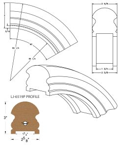 "LJ-7513P: Conect-A-Kit 60° Over Easing for LJ-6519P - 1 3/4"" Plowed Handrail CAD Drawing"