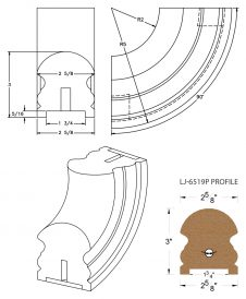 "LJ-7514P: Conect-A-Kit 90° Upeasing for LJ-6519P - 1 3/4"" Plowed Handrail CAD Drawing"