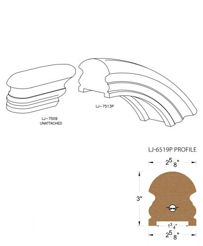 """LJ-7516P: Conect-A-Kit Starting Over Easing for LJ-6519P - 1 3/4"""" Plowed Handrail CAD Drawing"""