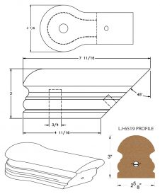 LJ-7519: Conect-A-Kit Opening Cap for LJ-6519 Handrail CAD Drawing