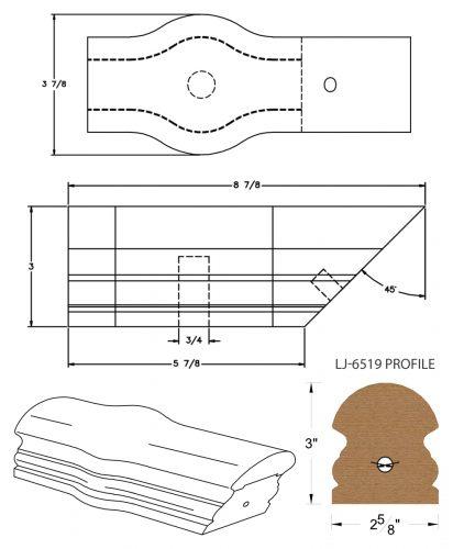 LJ-7520: Conect-A-Kit Tandem Cap for LJ-6519 Handrail CAD Drawing