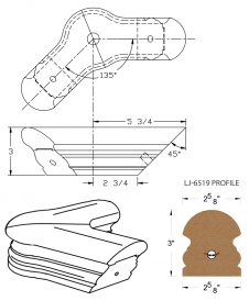 LJ-7521-135: Conect-A-Kit 135° Level Turn with Cap for LJ-6519 Handrail CAD Drawing
