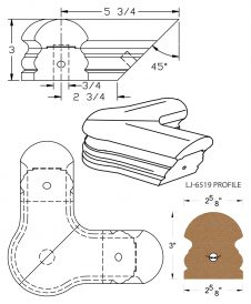 LJ-7521: Conect-A-Kit 90° Level Quarterturn with Cap for LJ-6519 Handrail CAD Drawing