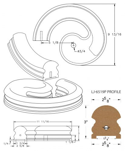 """LJ-7530P: Conect-A-Kit Left Hand Volute for LJ-6519P - 1 3/4"""" Plowed Handrail CAD Drawing"""