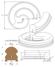 "LJ-7535P: Conect-A-Kit Right Hand Volute for LJ-6519P - 1 3/4"" Plowed Handrail CAD Drawing"