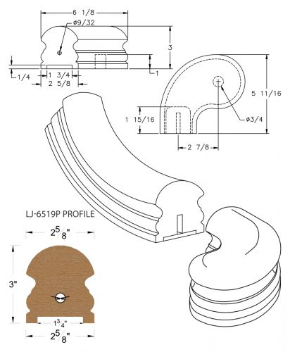 """LJ-7541P: Conect-A-Kit 3"""" Left Hand Turnout for LJ-6519P - 1 3/4"""" Plowed Handrail CAD Drawing"""