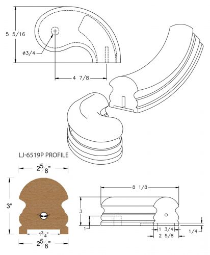"""LJ-7545P: Conect-A-Kit 5"""" Right Hand Turnout for LJ-6519P - 1 3/4"""" Plowed Handrail CAD Drawing"""