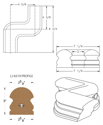 LJ-7547: Conect-A-Kit Left Hand S Fitting / Offset for LJ-6519 Handrail CAD Drawing