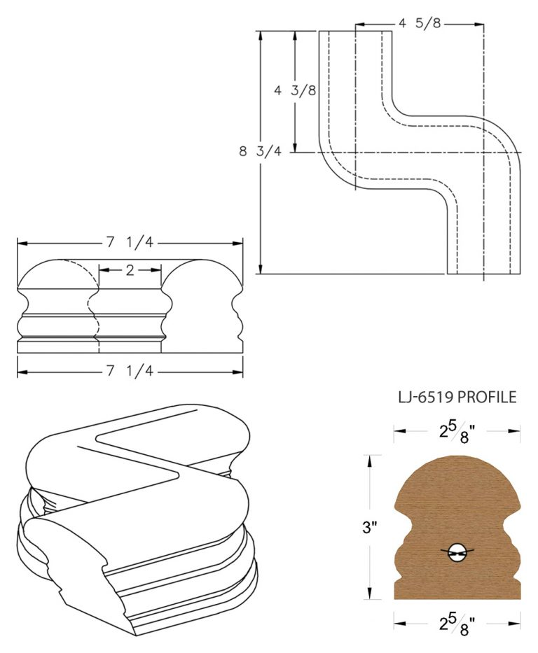 LJ-7548: Conect-A-Kit Right Hand S Fitting / Offset for LJ-6519 Handrail CAD Drawing