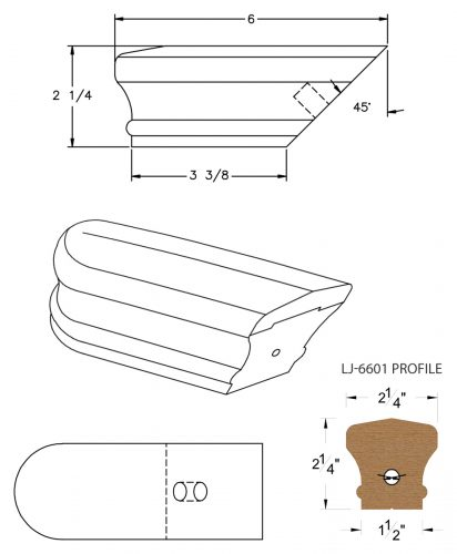 LJ-7609: Conect-A-Kit Returned End for LJ-6601 Handrail CAD Drawing
