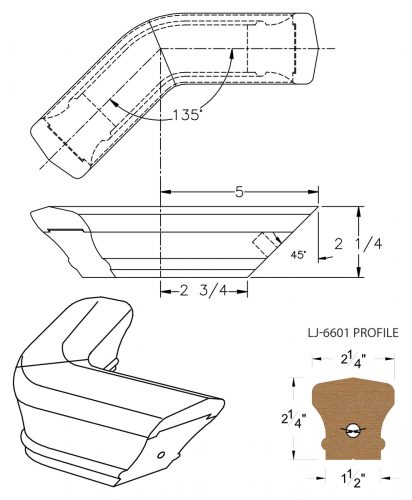 LJ-7611-135: Conect-A-Kit 135° Level Turn for LJ-6601 Handrail CAD Drawing