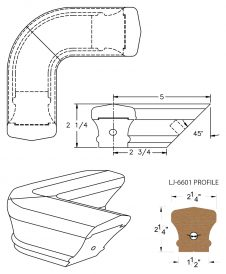 LJ-7611: Conect-A-Kit 90° Level Quarterturn for LJ-6601 Handrail CAD Drawing