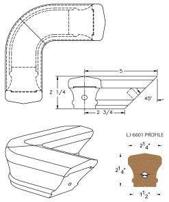 LJ-7611: Conect-A-Kit 90° Level Quarterturn for LJ-6601 Handrail CAD Drawing
