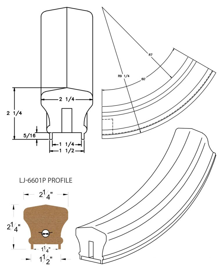 "LJ-7612P: Conect-A-Kit 60° Upeasing for LJ-6601P - 1 1/4"" Plowed Handrail CAD Drawing"