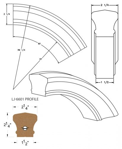 LJ-7613: Conect-A-Kit 60° Over Easing for LJ-6601 Handrail CAD Drawing