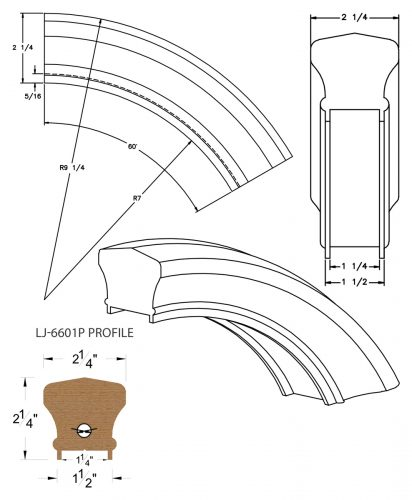 """LJ-7613P: Conect-A-Kit 60° Over Easing for LJ-6601P - 1 1/4"""" Plowed Handrail CAD Drawing"""