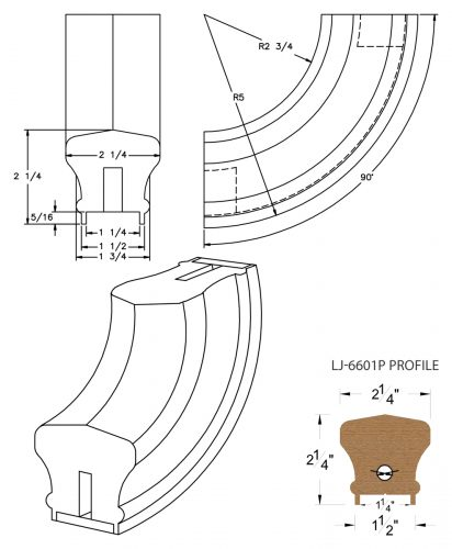"""LJ-7614P: Conect-A-Kit 90° Upeasing for LJ-6601P - 1 1/4"""" Plowed Handrail CAD Drawing"""