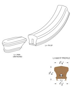 """LJ-7615P: Conect-A-Kit Starting Easing for LJ-6601P - 1 1/4"""" Plowed Handrail CAD Drawing"""