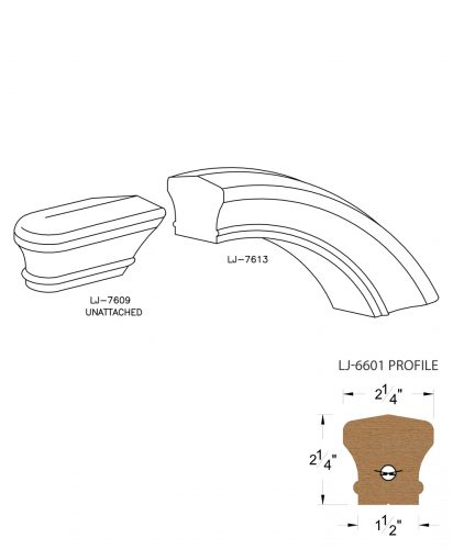 LJ-7616: Conect-A-Kit Starting Over Easing for LJ-6601 Handrail CAD Drawing