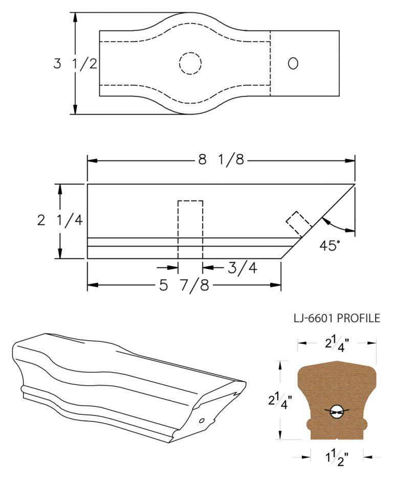 LJ-7620: Conect-A-Kit Tandem Cap for LJ-6601 Handrail CAD Drawing