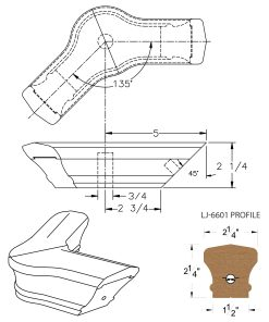 LJ-7621-135: Conect-A-Kit 135° Level Turn with Cap for LJ-6601 Handrail CAD Drawing