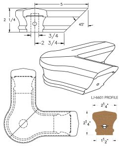 LJ-7621: Conect-A-Kit 90° Level Quarterturn with Cap for LJ-6601 Handrail CAD Drawing