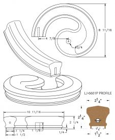 "LJ-7630P: Conect-A-Kit Left Hand Volute for LJ-6601P - 1 1/4"" Plowed Handrail CAD Drawing"