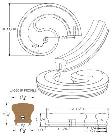 "LJ-7635P: Conect-A-Kit Right Hand Volute for LJ-6601P - 1 1/4"" Plowed Handrail CAD Drawing"
