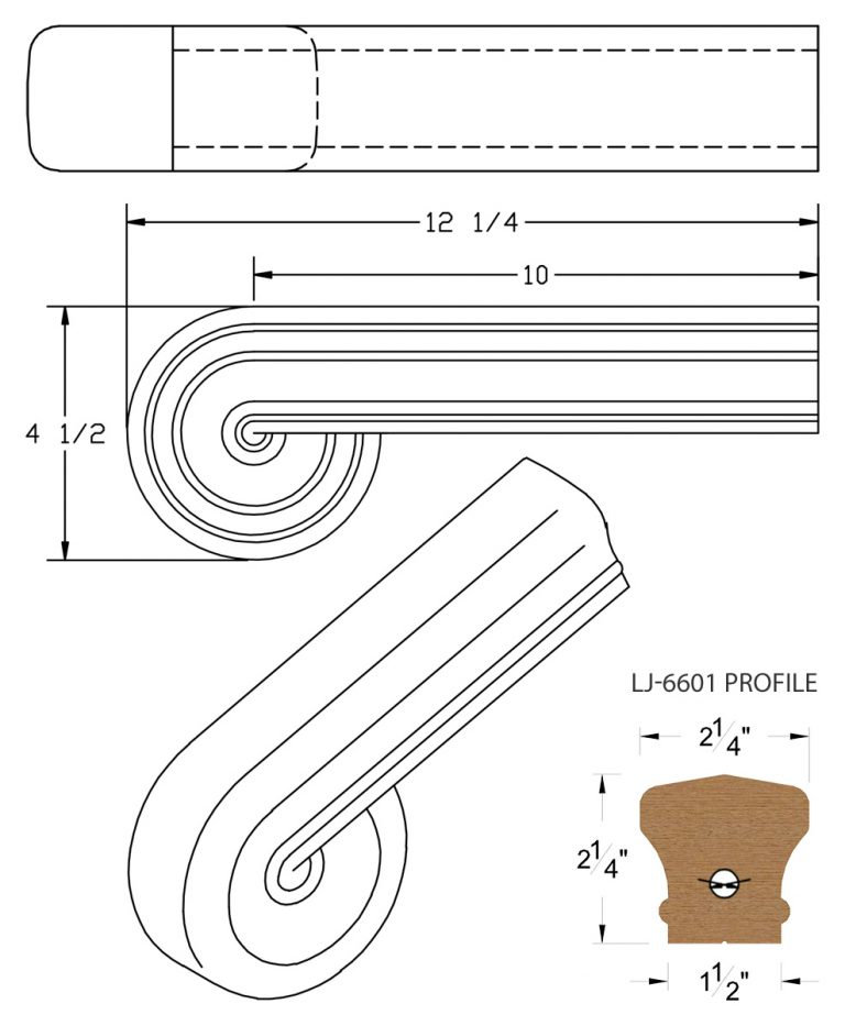 LJ-7638: Vertical Volute for LJ-6601 Handrail CAD Drawing